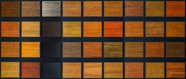 Table of samples of veneered wood