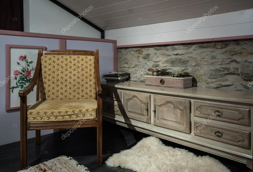 Interno camera da letto in casa francese — Foto Stock ...