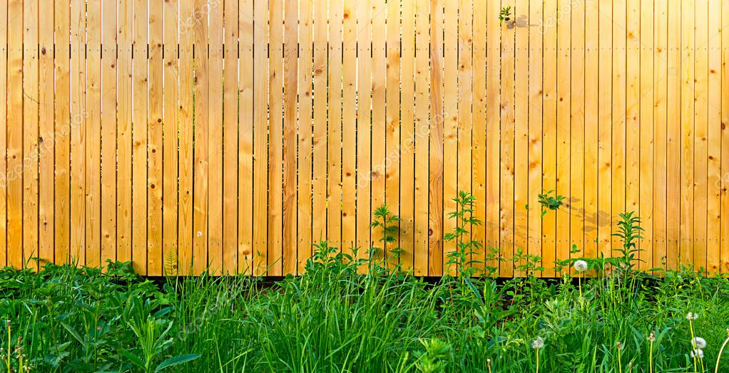 Background Rustic Wooden Fence With Thick Green Grass In Front Of It U2014  Photo By MarinaVlasova
