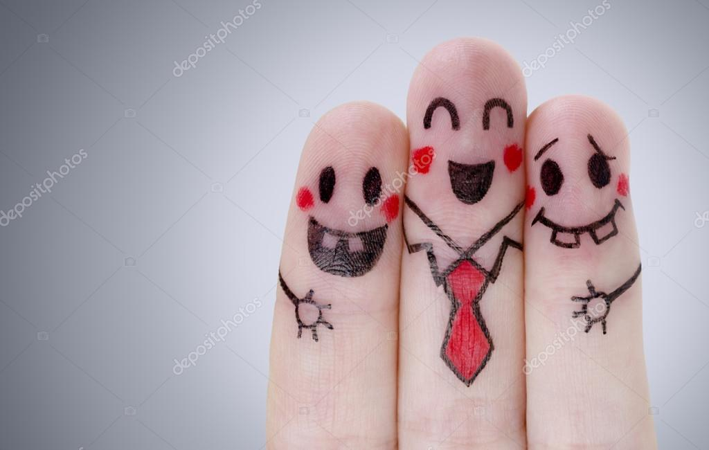 Fingers with happy smiley face