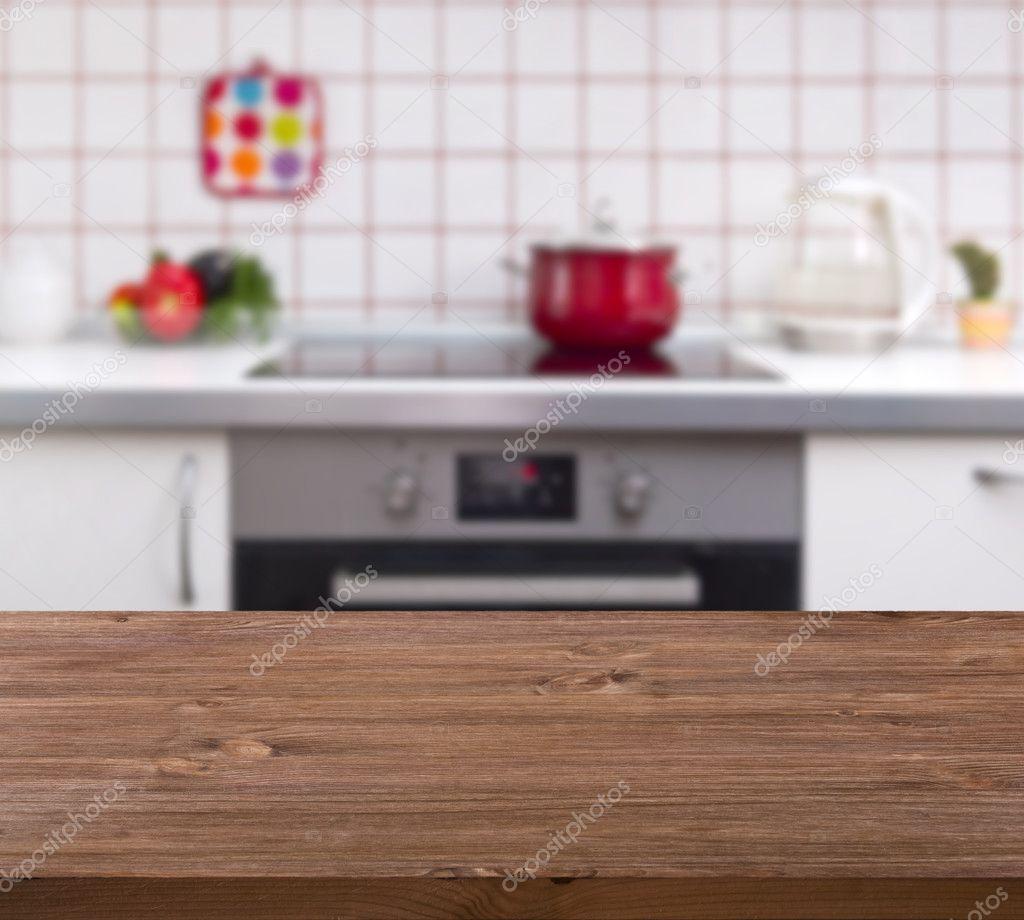Wooden table on kitchen