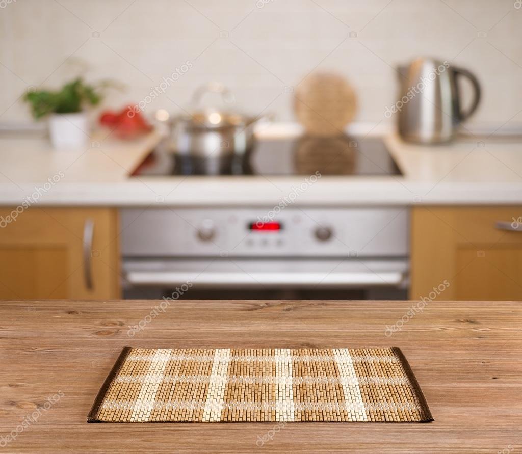 Kitchen Table Background Entrancing Wooden Table On Defocused Kitchen Bench Background  Stock Photo Review