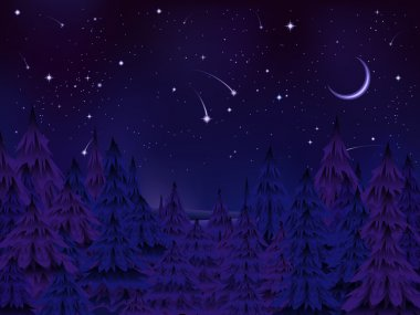 Mysterious forest night