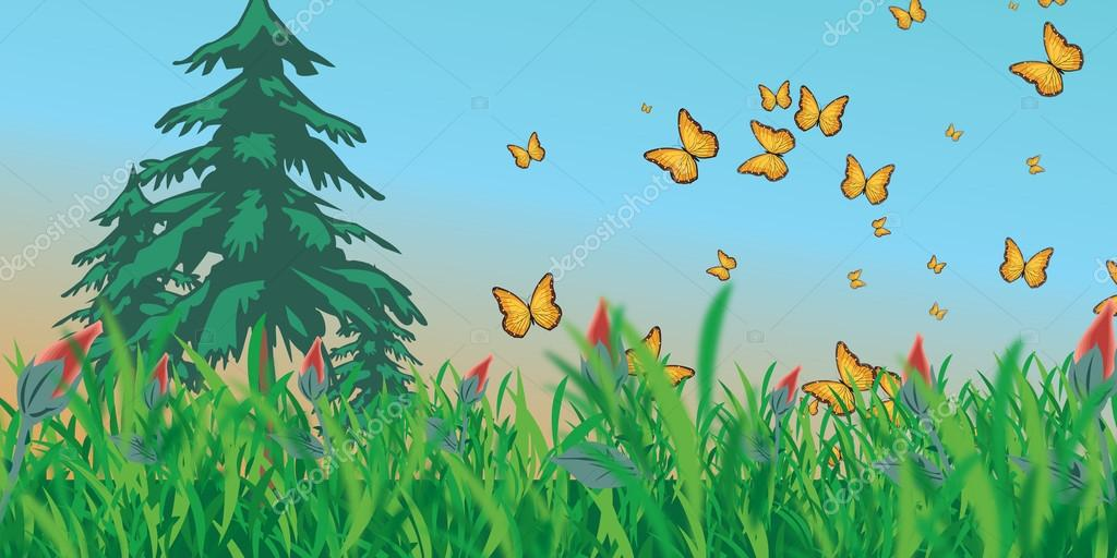 Meadow with butterflies