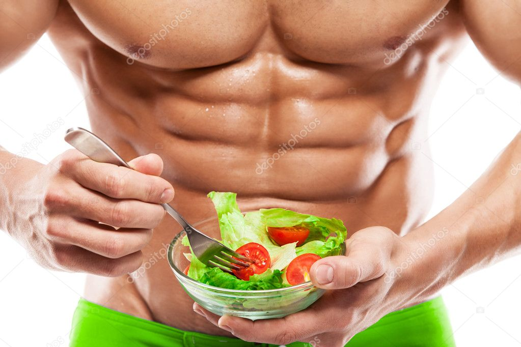 Shaped and healthy body man holding a fresh salad bowl,shaped ab ⬇ Stock  Photo, Image by © _italo_ #49796653