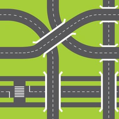Urban asphalt roads.
