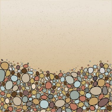 Card with stones in bright colors. Colored pebble stones background, vector illustration.