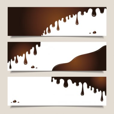Horizontal banners with flowing chocolate