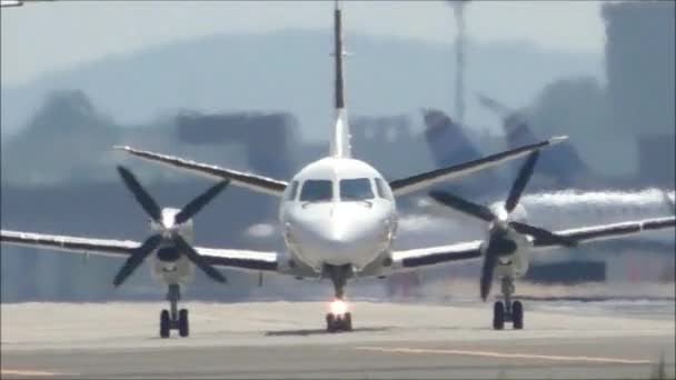 Propeller airplane on hot day