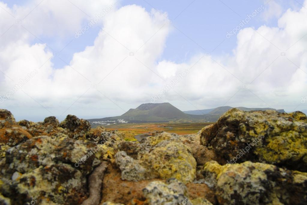 Timanfaya Fire Mountains National Park on island of Lanzarote in th Canary Islands