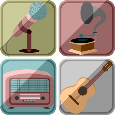 Icons in a retro style with the image of musical instruments