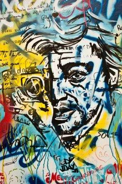 Paris - France - December  2013 - urban art - Serge Gainsbourg face