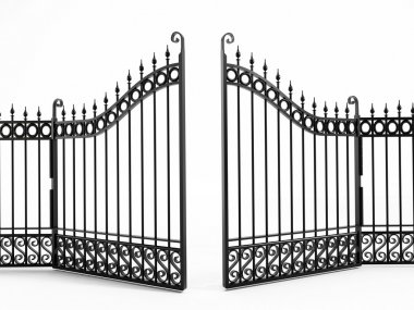 Black iron gate