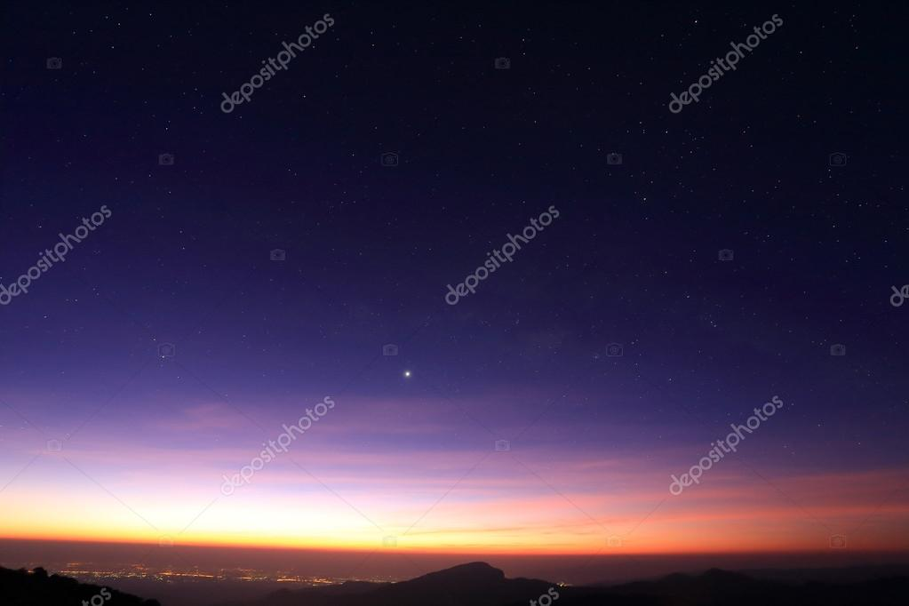 Landscape of sunrise in the morning with star in the sky