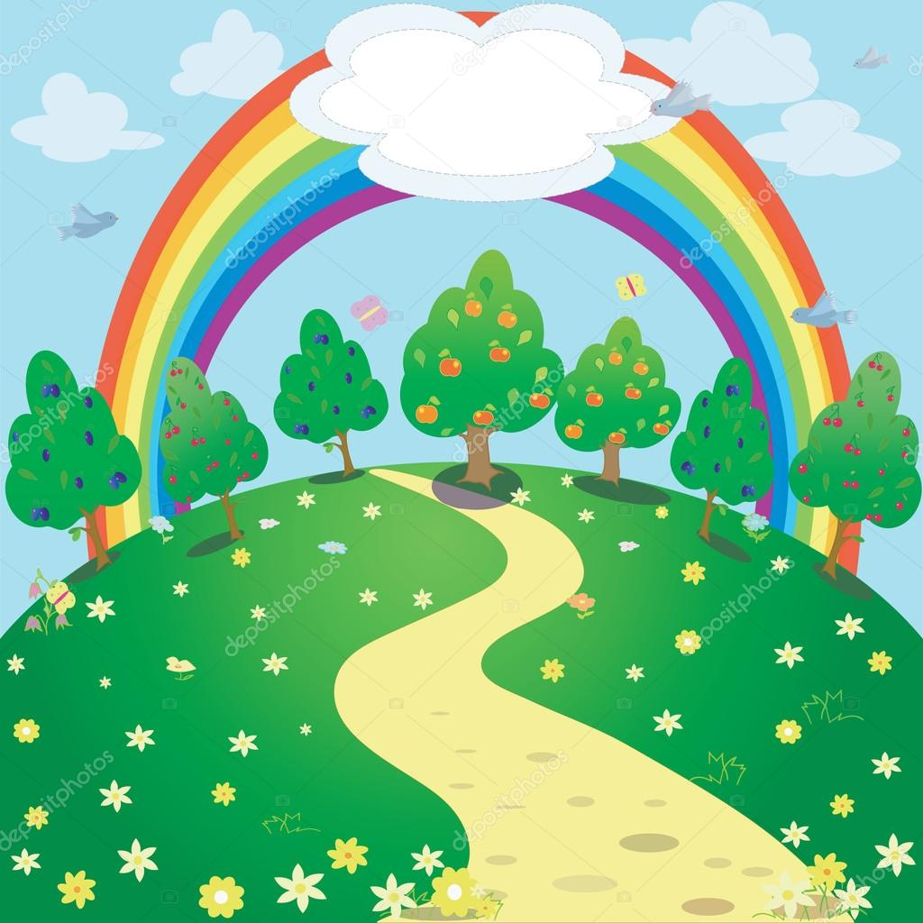 background of rainbow and garden fantasy illustration