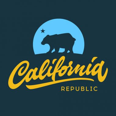 Vintage retro california republic calligraphic t-shirt apparel fashion design