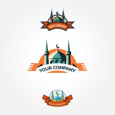 Set of vintage mosque badges and emblems