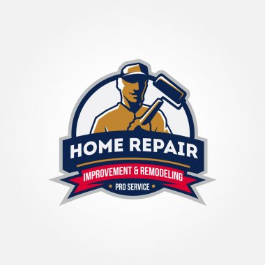 Handyman home repair corporate service badge symbol isolated on white background, vector illustration, symbol looks like logo stock vector