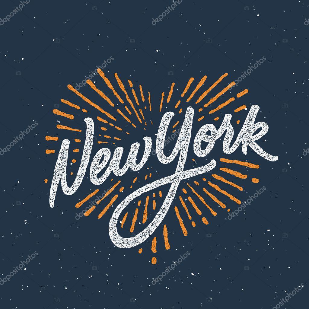 264b31c8 New York handwritten t-shirt apparel design — Stock Vector ...