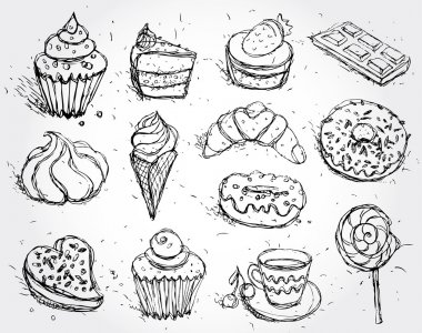 Hand drawn confectionery set