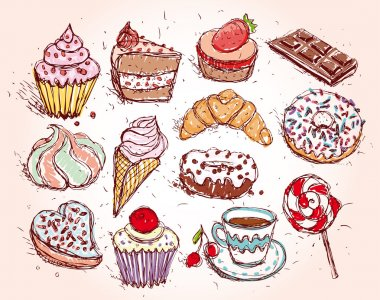confectionery croissant and Cupcakes set