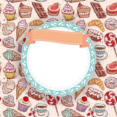 Hand drawn Cupcakes pattern
