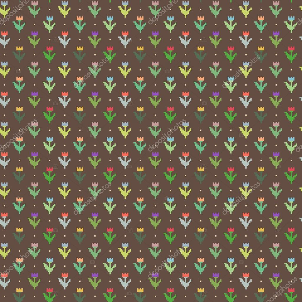 8 bit flower vector pattern