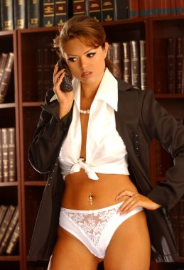 Brunette Model get sexy on the phone in her lawyers office