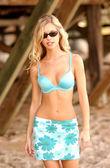 Fotografie Flowered Rap -  Bikini Top - Sunglasses - Adorable Blonde Model Natalie