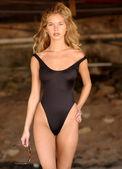 Fotografie Skin Tight Black Swimsuit - Adorable Blond Model Natalie
