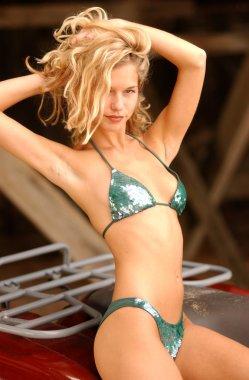 Shiny Skimpy Bikini - Petite Slim Blonde Model Natalie stunning standing slim hour glass shape