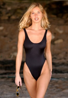 Skin Tight Black Swimsuit - Adorable Blond Model Natalie