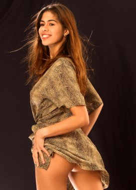 Brown and Tan Leopard Robe - Black Background - Adorable Professional Brazilian Model