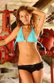 Fotografie Blue Bikini Top - Black Bottoms - Sexy Blonde Natalie