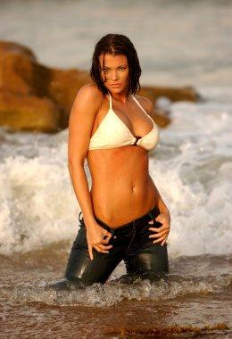 Professional Model Vansessa Wolfson - Wet Jeans - Beige Bikini Top