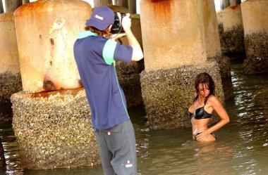 Dripping Wet Black Bikini - Deep Dark Water Background - Landscape