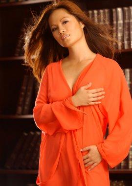 Red Satin Robe - Brown Sexy Asain