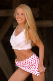 Photo Cute Pink Poka-Dotted Skirt - White Fuzzy Top