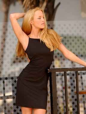 Black Evening Dress - Blond Published Model - Several Views