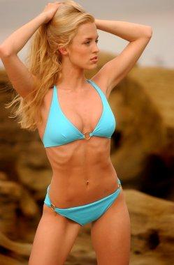 Blue Bikini - Rock and Ocean Background - Passive Look