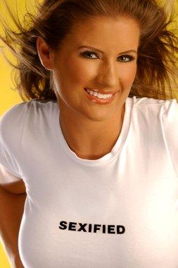Playboy model Wendy Meece brunette girl in t-shirt sexified