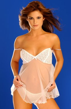Playboy Model Laura Croft - Blue Background - Front View