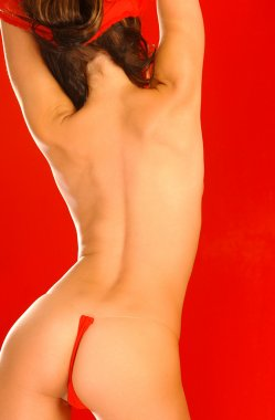 Playboy Model Laura Croft - Red Background - Back View