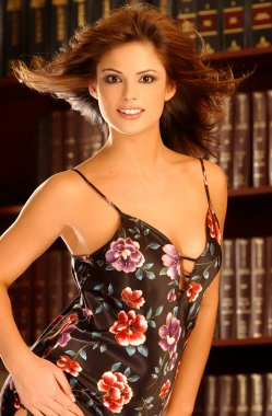Playboy Model Laura Croft - Black and Red Flowered Dress - Law Office Backgound