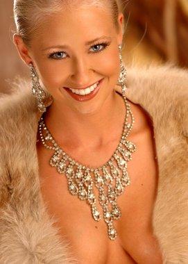 Big Smile - Brown Fur - Silver Necklace - Lots of Cleavage