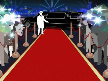 Red carpet, photographers, driver and a luxury car