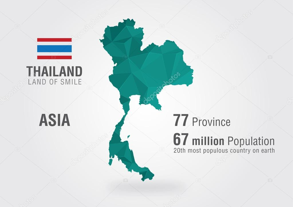 Thailand world map. Thai map with a pixel diamond texture. — Stock ...