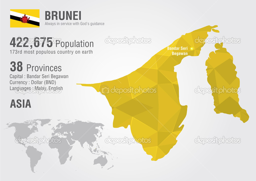 Brunei world map with a pixel diamond texture World Geography