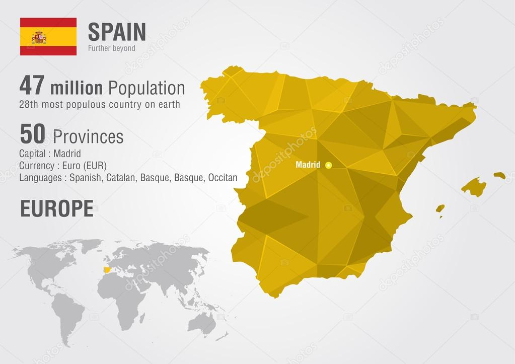 Map Of Spain In The World.Spain World Map With A Pixel Diamond Texture Stock Vector