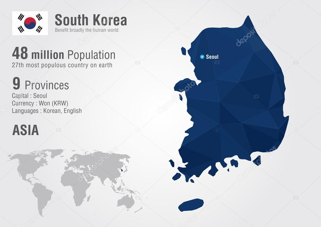 South korea world map with a pixel diamond texture stock vector south korea world map with a pixel diamond texture stock vector gumiabroncs Images